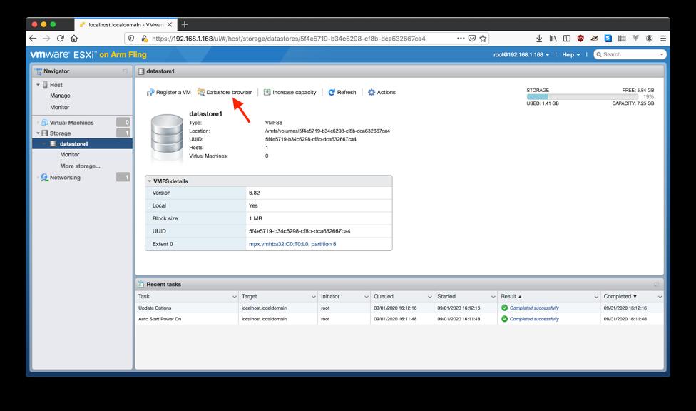 """Figure 11 : Cliquer sur """"Datastore Browser""""."""