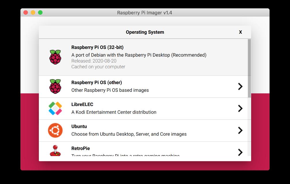 "Figure 2 : Sélectionnez ""Raspberry Pi OS (32 bits)"""