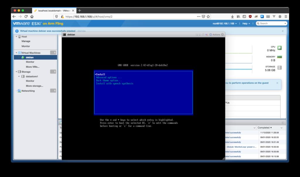 """Figure 23 : Se connecter avec l'utilisateur """"root"""" en utilisant le mot de passe créé pendant l'installation. Récupérez l'adresse IP en tapant la commande """"ip a""""."""